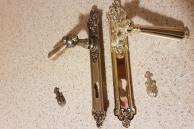 Mosieżny zestaw drzwiowy retro połysk i stare złoto